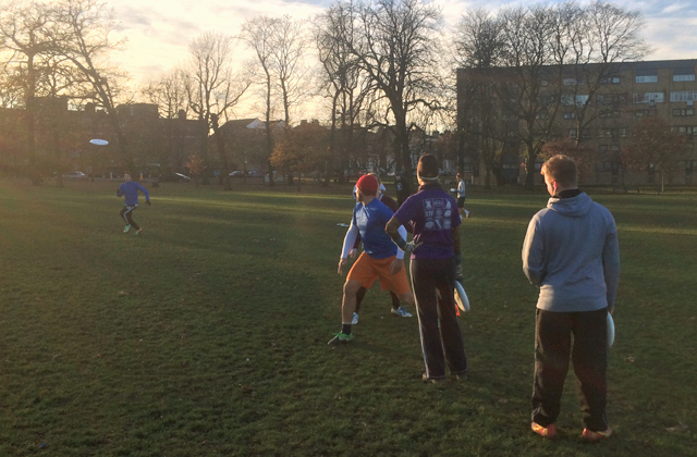 Trainer Dave 'Brickers' Rodger leading a breaking the mark drill in Clissold Park